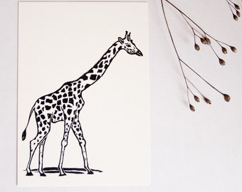 Postcard Giraffe, animal illustration, greeting card illustration, scratchboard, black white, wildlife postcard