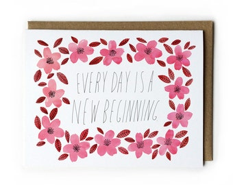 Encouragement Greeting Card, Words of Encouragement, Watercolor Greeting Card, Cherry Blossom Painting, A2, 4.25 x 5.5, Red, Pink