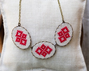 Cross stitch necklace - casual textile necklace n010