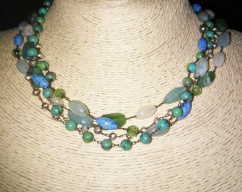 Blue & Green Turquoise Colored Bead Necklace
