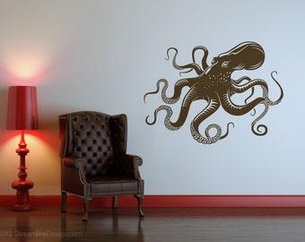 Yet Another Giant Octopus Wall Decal | octopus wall art nautical decor tentacles sea creatures octopus decor kraken bathroom wall decal