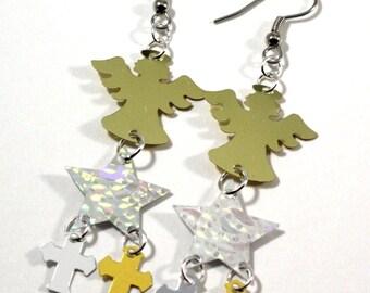 Gold Angel Earrings Hologram Stars Metallic Crosses Dangle Plastic Sequins