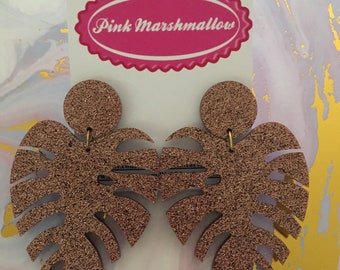 Monstera leaf acrylic dangles Copper glitter big statement