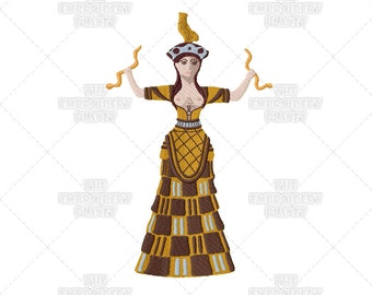 Minoan Snake Goddess Archeology Mythology History Machine Embroidery Patterns Designs