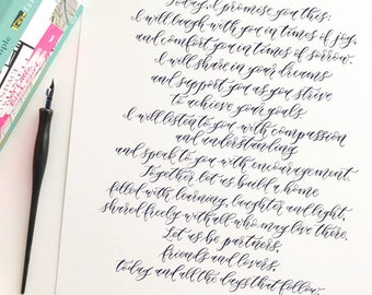 Custom Wedding Vow Calligraphy | Handwritten Vows | Paper Anniversary Gift | Custom Calligraphy Poem | Wedding Vows Print