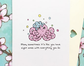 Octopus Mother's Day card, happy Mother's Day card, Mother's Day card unique, Mother's Day from daughter, Mother's Day from son