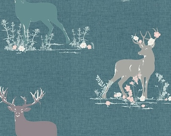 Blithe by Art Gallery - Dear Deer Teal - Cotton/Spandex Knit
