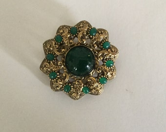 Vintage Brass/Gold Tone Brooch,Green Stones,West Germany,Metal Filigree