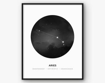 Aries Print, Zodiac Constellation Wall Art, Black and White Astrology Poster, Minimalist Scandinavian Nordic Decor, Printable Digital Art