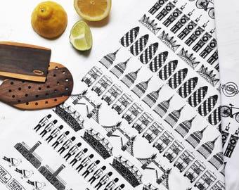 London Tea-Towel – London Illustration – Gift for Foodie – Gift for Him - London Skyline