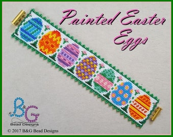 PAINTED EASTER EGGS Peyote Cuff Bracelet Pattern