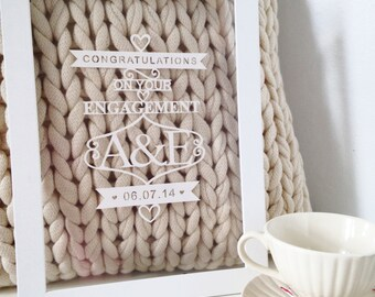 Lasercut personalised engagement gift (framed)