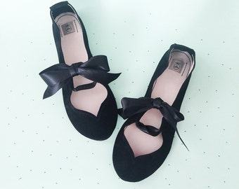Ballet Flats With Ribbon. Black Shoes. Black Ballet Flats. Women Shoes. Mary Jane Shoes. Bridal Shoes. Flat Wedding Shoes. Ballerinas Shoes