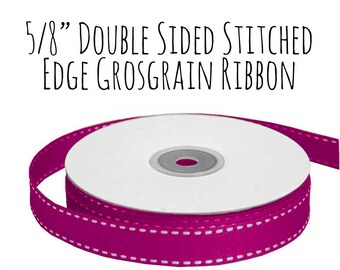 "Fuchsia Ribbon with Stitched Edge, Hot Pink Grosgrain Ribbon, 5/8"" Ribbon, Magenta Ribbon, Gift Ribbon Wrap, Wedding Supply, Hair Ribbon"