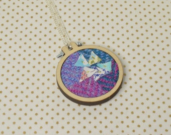 Pink and Blue Harris Tweed Mini Embroidery Hoop Necklace, Harris Tweed, Miniature Embroidery Hoop, Embroidery Hoop Necklace, Necklace