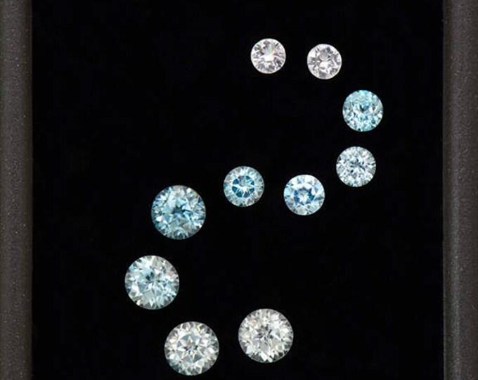 Glittery Blue and White Zircon Gemstone Set from Cambodia 2.43 tcw.