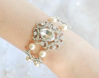 Bridal Wedding Bracelet, Swarovski Pearl Bracelet, Oval Crystal Wedding Bracelet, Silver Filigree Bracelet, Vintage Style Jewelry, QUIANA