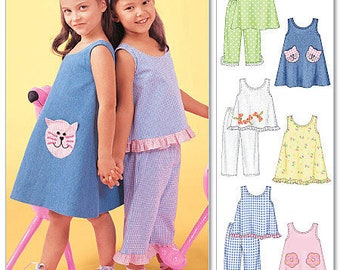 McCall's 4006 Size 6-7-8 Girls Dresses, Tops, and Pants Sewing Pattern / Uncut FF