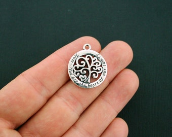 2 Mom Charms Antique Silver Tone Family Tree - You are the heart of our family - SC5784