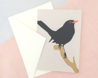 Black Bird Card | Bird Card | Bird Greetings Card | Bird Birthday Card | Anniversary Card | Bird Art | Bird Print | Bird Art | Blackbird