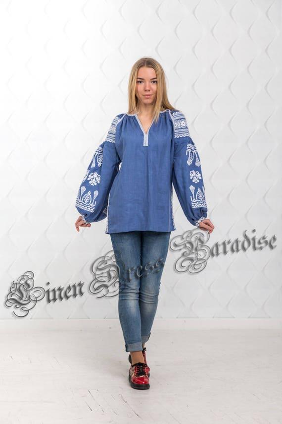 Chic US Women's 4 SALE to 20 Linen Top Lux ship Fashionable Nationale Shirts Embroidered Bohemian Size Boho Vyshyvanka Ukrainian Ready qwwa6