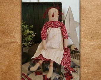 Little Prim Annie - Raggedy Ann - Primitive Folk Art - Americana - Summer decor - As the Crow Flies - Free shipping