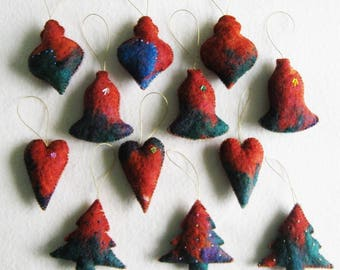 12 Felted Christmas Decorations 3 Trees 3 Baubles 3 Bells 3 Hearts #6