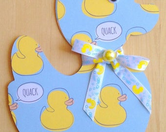 Adorable Handmade Silhouetted Ducky Card in Blue or Pale Yellow with Ribbon and Buttons!