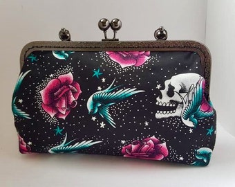 Black scull clutch bag, handbag, gothic, steampunk, prom, wedding