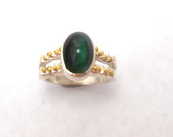 Tourmaline Cat's Eye Upcycled Genuine Green Gemstone Sterling Silver 18K Gold Granulation Ring October Birthstone