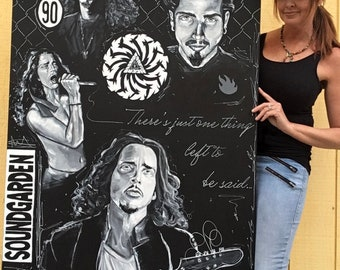 """Chris Cornell ORIGINAL Painting HUGE 36""""x48"""" Gallery Wrapped Canvas"""