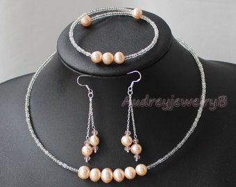 Natural Freshwater Pearls Bridal Bib Necklace with Bracelet Earrings  Set Bridal Necklace, Wedding Jewelry,