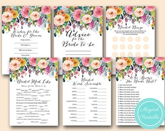 Floral Bridal Shower Game Pack, Painted Floral Bridal Shower Games, Floral Chic, Flowers, Wedding Shower Games BS138