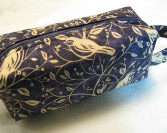 Purple and Tan Chickadee Pencil Bag Craft Bag Cosmetic Bag Makeup Bag Shaving Kit LARGE