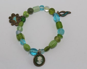 Green and Blue glass beaded charm bracelet
