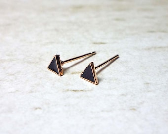 Tiny Black Enamel Triangle Stud Earrings, Dainty Earrings