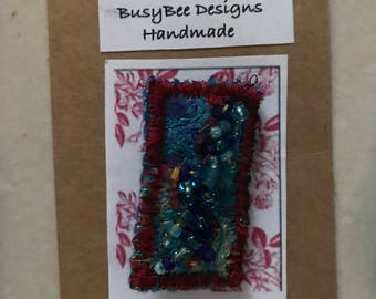 Handmade Brooch Blue Recycled Fabric Sequins, beading & stitch