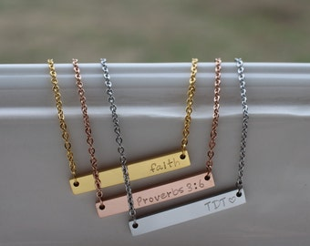 Personalized Necklace - Personalized Bar Necklace - Roman numeral Necklace - Best Friend Gift - Rose Gold Necklace - Girlfriend Gift