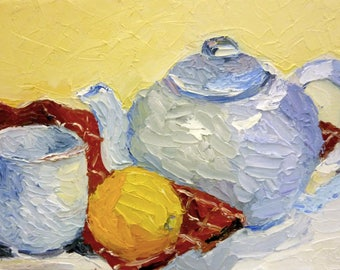 Small Still Life Oil Painting on Canvas Tea and Fruit