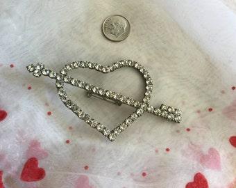 RHINESTONE Open Heart with Arrow Pin/Brooch   Large Rhinestone Heart