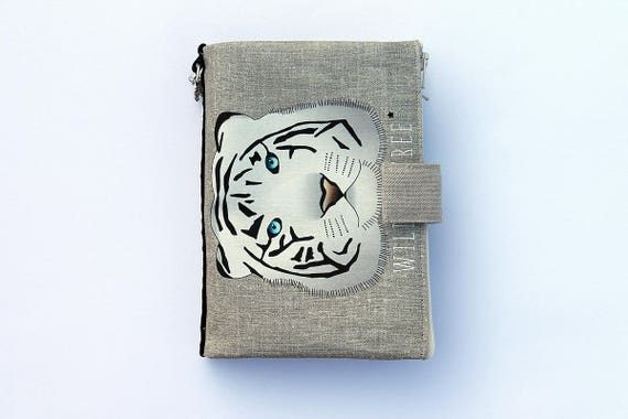 """Purse Organizer / AOR illustrated linen Tiger """"Wild and Free"""""""