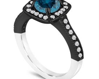 Unique Blue Diamond Engagement Ring, Blue Diamond Wedding Ring, 1.29 Carat 14K White & Black Gold Vintage Style Halo Pave Certified Handmade