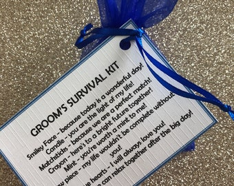 Grooms personalised survival kit, keepsake, novelty gift, wedding favour, fun gift, wedding gift, gifts for him,