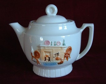 Porcelier Hearth Tea Pot, large size, Vintage PM396 ON SALE NOW