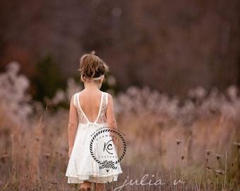 Ready To Post flower girl dress ivory flower girl dress girls lace dress boho flower girl vintage flower girl dress toddler