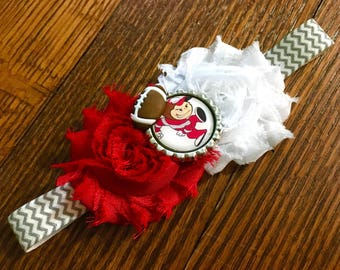 Ohio State Buckeyes Shabby Chic Flower Headband