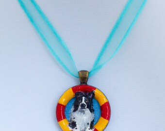 """Handmade Border Collie Dog Jumping Agility Pendant Necklace Charm 1.25"""" Jewelry"""