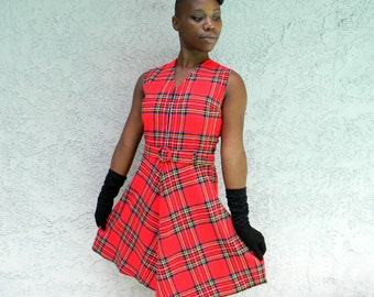60s Plaid Mini Dress, Vintage 1960s Electric Red Plaid Mini Dress, Size 4 6 Small S, Cosplay Costume Schoolgirl Christmas GoGo Dress