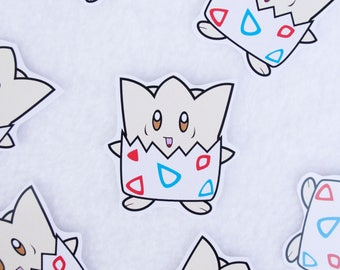 Togepi Stickers Kawaii Cute Art Handmade Anime Cartoon Video Games Character Gamer Gaming Nerdy Egg Baby Normal Fairy Type One of a Kind