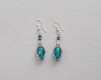 HM Glass Bead Crystal Sterling Earrings